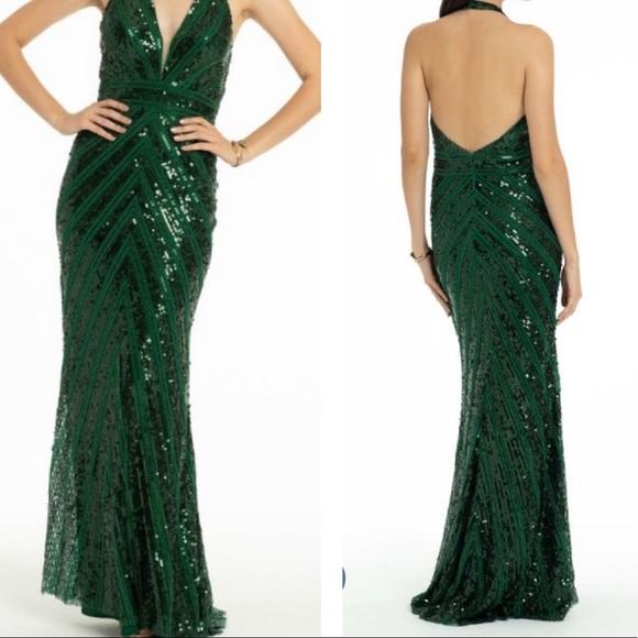 Camille La Vie Dresses & Skirts - CAMILLE LE VIE Beautiful Green sequin halter gown